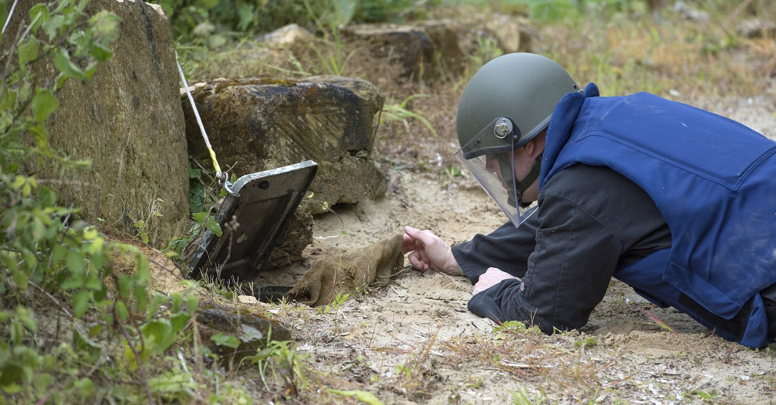 A demining exercise on one of ISSEE's Explosives training courses